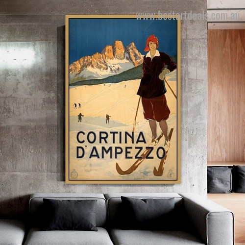 Cortina D'ampezzo Figure Landscape Advertisement Poster Artwork Picture Canvas Print for Room Wall Decoration