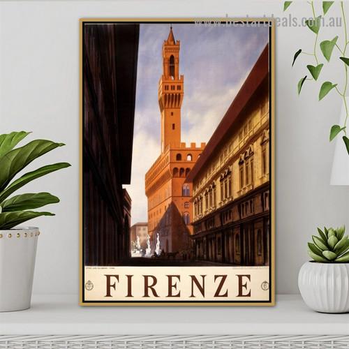 Florence Firenze 1920 City Vintage Retro Advertisement Artwork Portrait Canvas Print for Room Wall Decoration