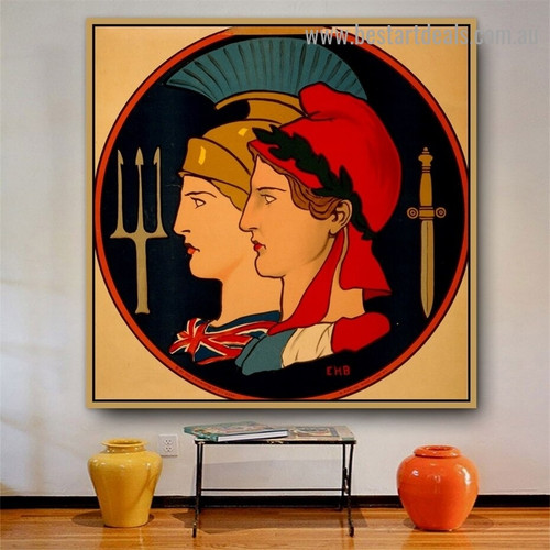 Emblem of France and Great Britain Vintage Figure Reproduction Advertisement Portrait Picture Canvas Print for Room Wall Garnish