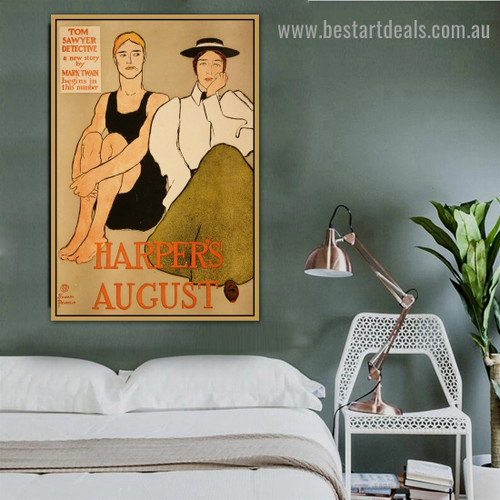 Harper's August Vintage Figure Advertisement Poster Artwork Photo Canvas Print for Room Wall Garniture