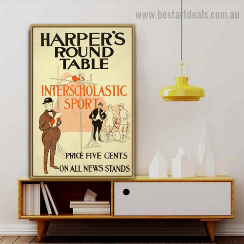 Harper's Round Table Vintage Sport Figure Reproduction Advertisement Poster Artwork Picture Canvas Print for Room Wall Ornament