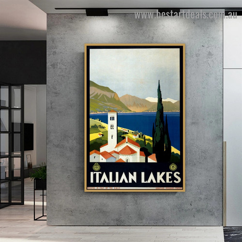 Italian Lakes Botanical Landscape Vintage Reproduction Poster Artwork Portrait Painting Canvas Print for Room Wall Garnish