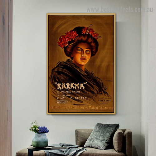 Karama Vintage Figure Reproduction Advertisement Poster Artwork Image Canvas Print for Room Wall Ornament