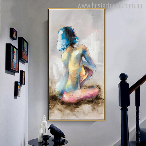 Short Hair Lady Abstract Watercolor Figure Nude Canvas Portrayal Print for Wall Getup