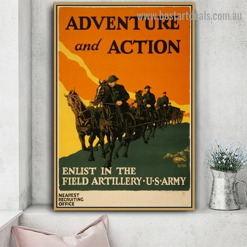 Adventure and Action Enlist In the Field Artillery Figure Animal Landscape Vintage Reproduction Advertisement Artwork Image Canvas Print for Room Wall Ornament
