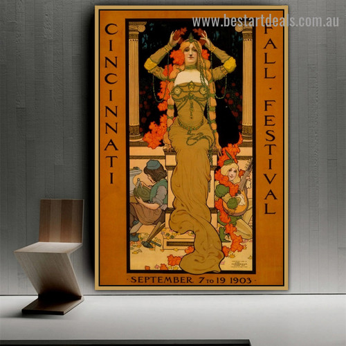 Cincinnati Fall Festival Figure Vintage Advertisement Poster Artwork Painting Canvas Print for Room Wall Décor