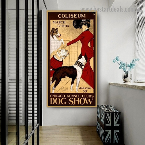 Chicago Kennel Club's Dog Show Animal Figure Vintage Advertisement Poster Artwork Image Canvas Print for Room Wall Adornment