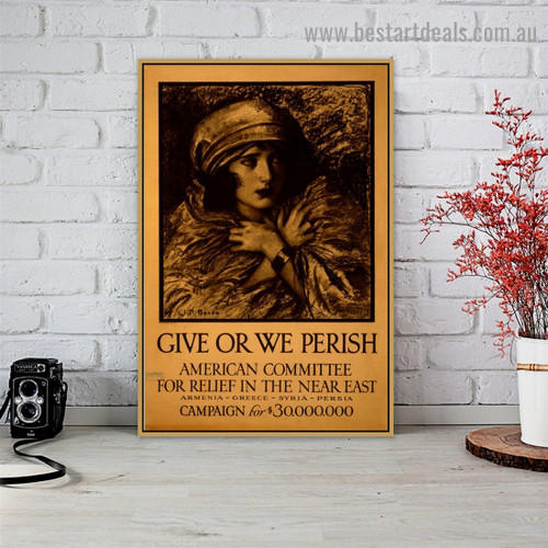 Give or We Perish Vintage Figure Retro Advertisement Portrait Image Canvas Print for Room Wall Adornment