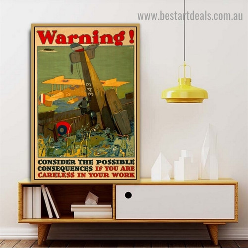 Warning! Landscape Figure Travel Vintage Advertisement Poster Artwork Picture Canvas Print for Room Wall Décor