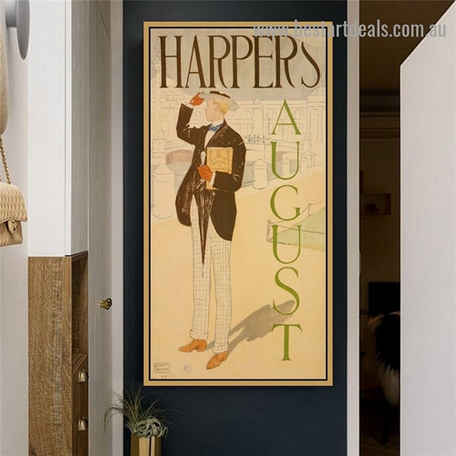 Harper's August I Vintage City Figure Advertisement Poster Portrait Photo Canvas Print for Room Wall Décor