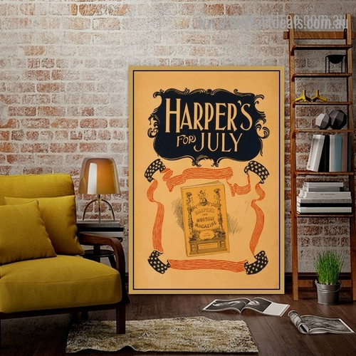 Harper's For July Vintage Abstract Advertisement Poster Artwork Picture Canvas Print for Room Wall Decoration