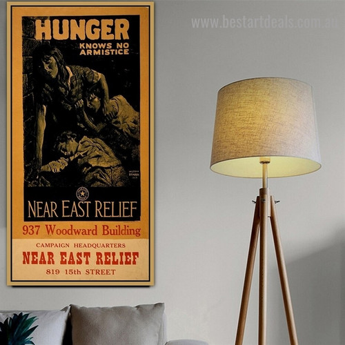 Hunger Knows No Armistice Vintage Figure Retro Advertisement Portrait Picture Canvas Print for Room Wall Garniture
