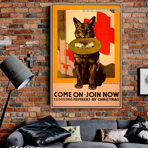 Come On Join Now Vintage Animal Reproduction Advertisement Poster Artwork Image Canvas Print for Room Wall Garnish