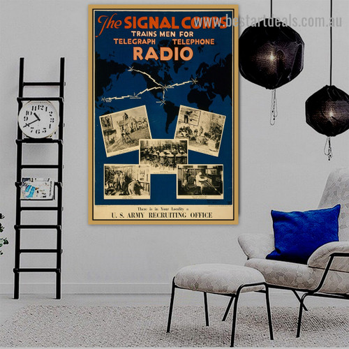 The Signal Corps Vintage World Maps Retro Advertisement Poster Portrait Picture Canvas Print for Room Wall Garniture