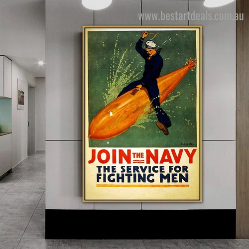 Join the Navy Figure Seascape Vintage Reproduction Poster Portrait Painting Canvas Print for Room Wall Décor