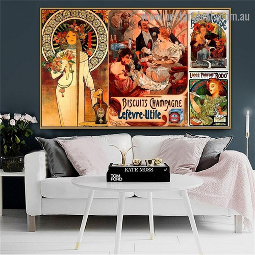 Alphonse Mucha Collage VI Vintage Botanical Figure Advertisement Poster Artwork Picture Canvas Print for Room Wall Decoration