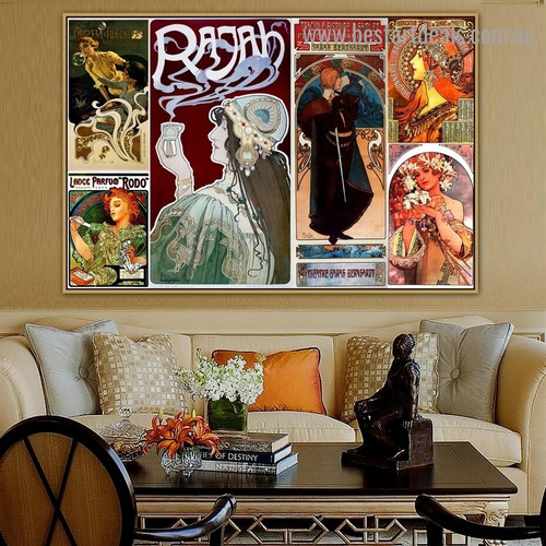 Alphonse Mucha Collage XIV Vintage Botanical Figure Advertisement Poster Artwork Photo Canvas Print for Room Wall Adornment