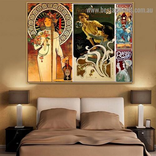 Benedictine Collage Vintage Botanical Figure Retro Poster Artwork Photo Canvas Print for Room Wall Ornament
