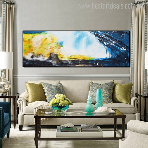 Dapple Panoramic Abstract Modern Painting Canvas Print for Living Room Wall Outfit