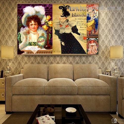 La Revue Blanche Collage Botanical Figure Vintage Advertisement Portrait Painting Canvas Print for Room Wall Ornament
