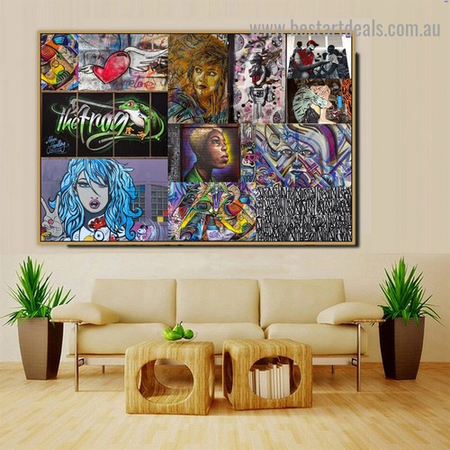 Girls Collage Animal Abstract Figure Graffiti Artwork Portrait Canvas Print for Room Wall Decoration