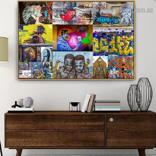 Friends Collage Abstract Figure Graffiti Portrait Image Canvas Print for Room Wall Ornament