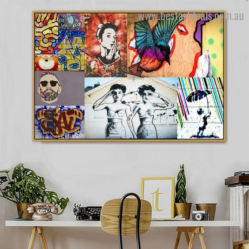 Colorful Beard Man Collage Bird Abstract Figure Graffiti Artwork Picture Canvas Print for Room Wall Décor