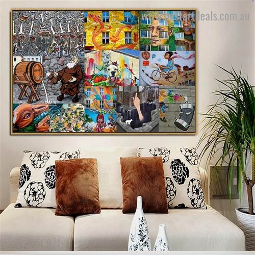 Animal Lover Collage Abstract Figure Graffiti Portrait Painting Canvas Print for Room Wall Garniture