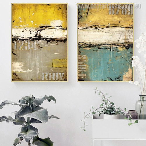 Blue Yellow Abstract Modern Image Canvas Print for Home Wall Drape