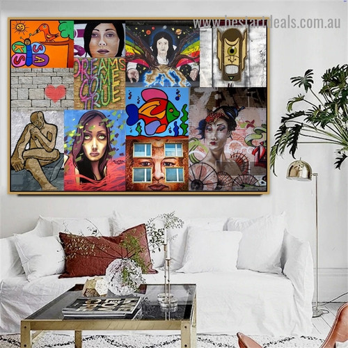 Hued Bird Butterfly Collage Abstract Figure Graffiti Portrait Picture Canvas Print for Room Wall Decoration