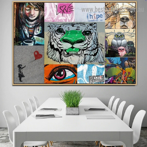 Lion Face Collage Animal Abstract Figure Graffiti Artwork Photo Canvas Print for Room Wall Adornment