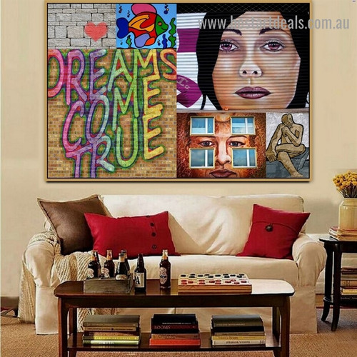 Woman Face Collage Abstract Figure Typography Portrait Photo Canvas Print for Room Wall Garniture