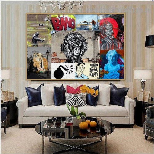 Woman Sculpture Collage Abstract Figure Typography Artwork Photo Canvas Print for Room Wall Decoration