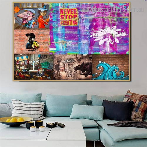 Never Stop Creating Collage Abstract Figure Typography Portrait Image Canvas Print for Room Wall Ornament