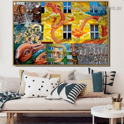Deer Face Collage Animal Abstract Figure Typography Artwork Picture Canvas Print for Room Wall Garniture