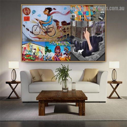 Woman Ride Collage Abstract Animal Figure Typography Portrait Picture Canvas Print for Room Wall Adornment