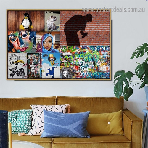 Human Shadow Collage Abstract Animal Figure Typography Artwork Image Canvas Print for Room Wall Ornament