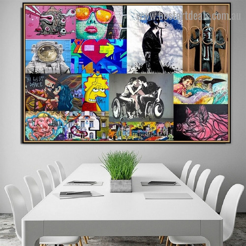 Monsters Collage Abstract Animal Figure Typography Portrait Picture Canvas Print for Room Wall Garniture