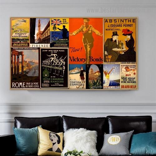 Now Victory Bonds Collage Figure Landscape Vintage Advertisement Poster Artwork Image Canvas Print for Room Wall Ornament
