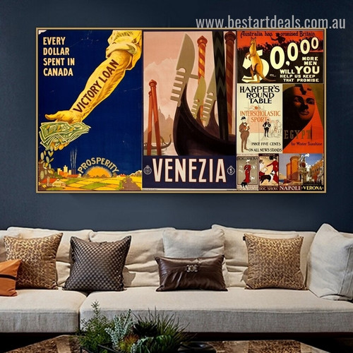 Venezia Collage Vintage Animal Figure Landscape Retro Advertisement Poster Artwork Photo Canvas Print for Room Wall Adornment