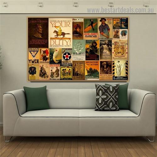 Buy Liberty Bonds Collage Animal Figure Landscape Vintage Advertisement Poster Artwork Image Canvas Print for Room Wall Ornament