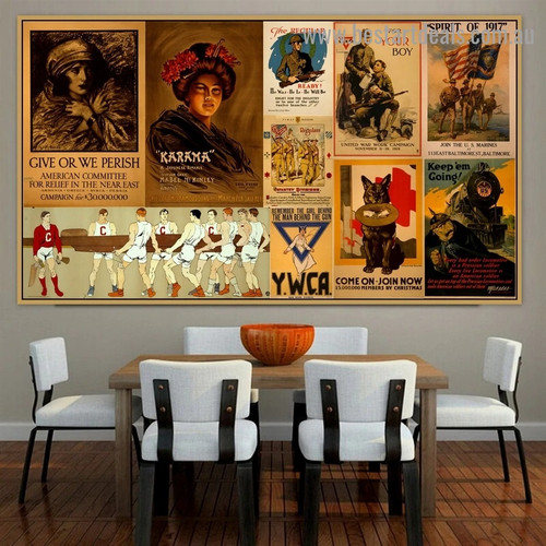 Come on Join Now Collage Animal Figure Landscape Vintage Retro Poster Portrait Picture Canvas Print for Room Wall Décor