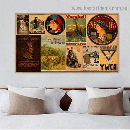 Warning Collage Vintage Botanical Figure Landscape Reproduction Poster Artwork Image Canvas Print for Room Wall Garniture