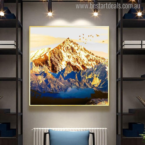 Mountains Nature Landscape Painting Canvas Print for Living Room Wall Finery
