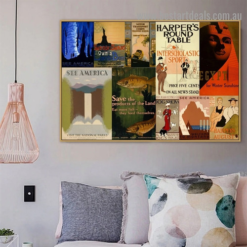 Harper's Round Table Collage Vintage Animal Figure Landscape Retro Advertisement Poster Portrait Photo Canvas Print for Room Wall Adornment