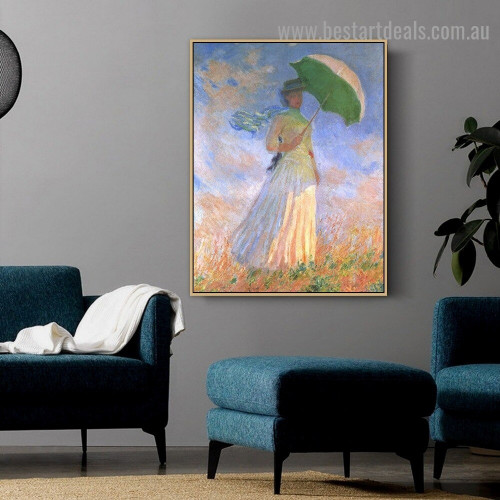 Woman with a Parasol Facing Right Oscar Claude Monet Figure Impressionism Reproduction Portrait Painting Canvas Print for Room Wall Decoration