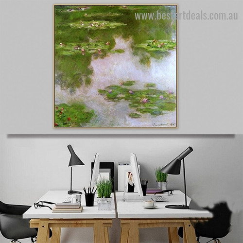 Water Lilies Oscar Claude Monet Botanical Landscape Impressionism Reproduction Portrait Image Canvas Print for Room Wall Garnish