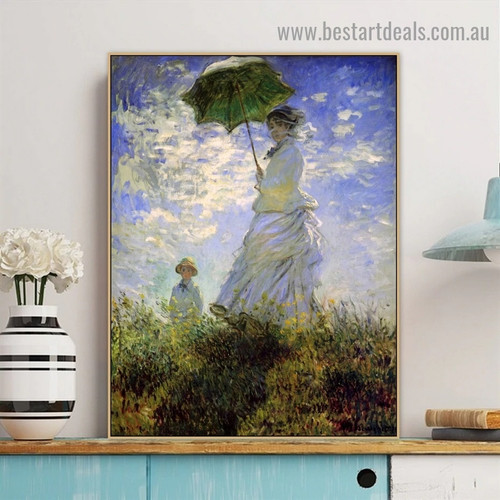 The Promenade Woman with a Parasol Figure Landscape Reproduction Artwork Picture Canvas Print for Room Wall Adornment