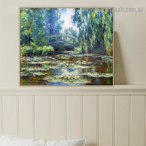 Water Lily Pond and Bridge Oscar Claude Monet Botanical Landscape Impressionism Reproduction Portrait Painting Canvas Print for Room Wall Decoration