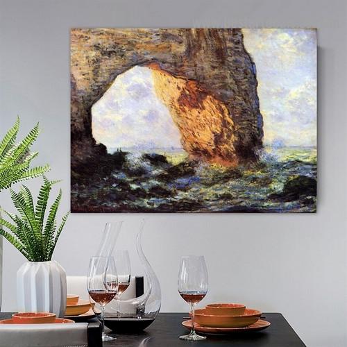 The Manneport Rock Arch West of Etretat Oscar Claude Monet Landscape Impressionism Reproduction Artwork Image Canvas Print for Room Wall Ornament